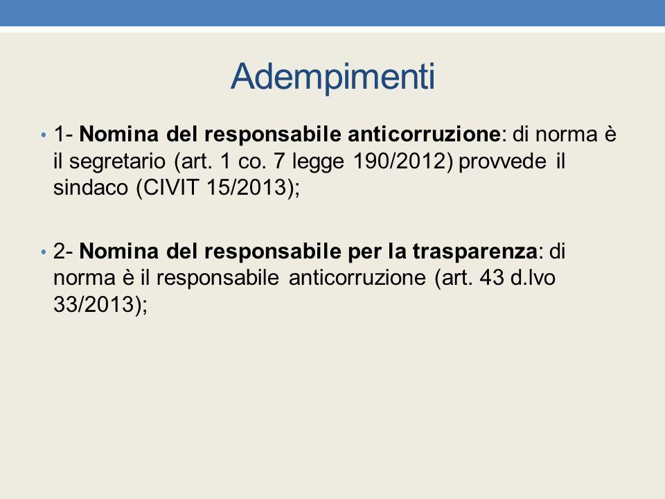 Adempimenti 1- Nomina del responsabile anticorruzione: di norma è il segretario (art. 1 co. 7 legge 190/2012) provvede il sindaco (CIVIT 15/2013); 2-