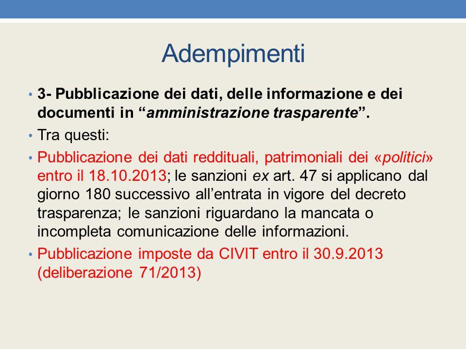 """Adempimenti 3- Pubblicazione dei dati, delle informazione e dei documenti in """"amministrazione trasparente"""". Tra questi: Pubblicazione dei dati redditu"""