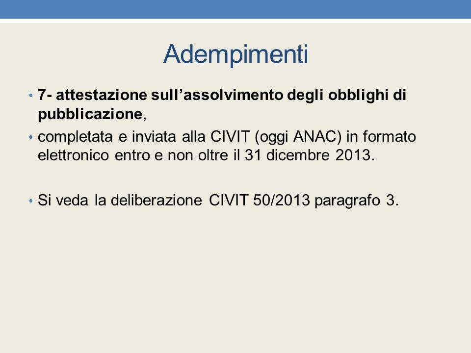 Adempimenti 7- attestazione sull'assolvimento degli obblighi di pubblicazione, completata e inviata alla CIVIT (oggi ANAC) in formato elettronico entr