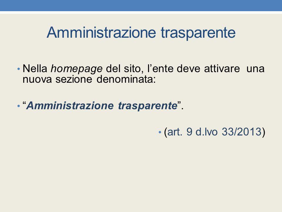 """Amministrazione trasparente Nella homepage del sito, l'ente deve attivare una nuova sezione denominata: """"Amministrazione trasparente"""". (art. 9 d.lvo 3"""