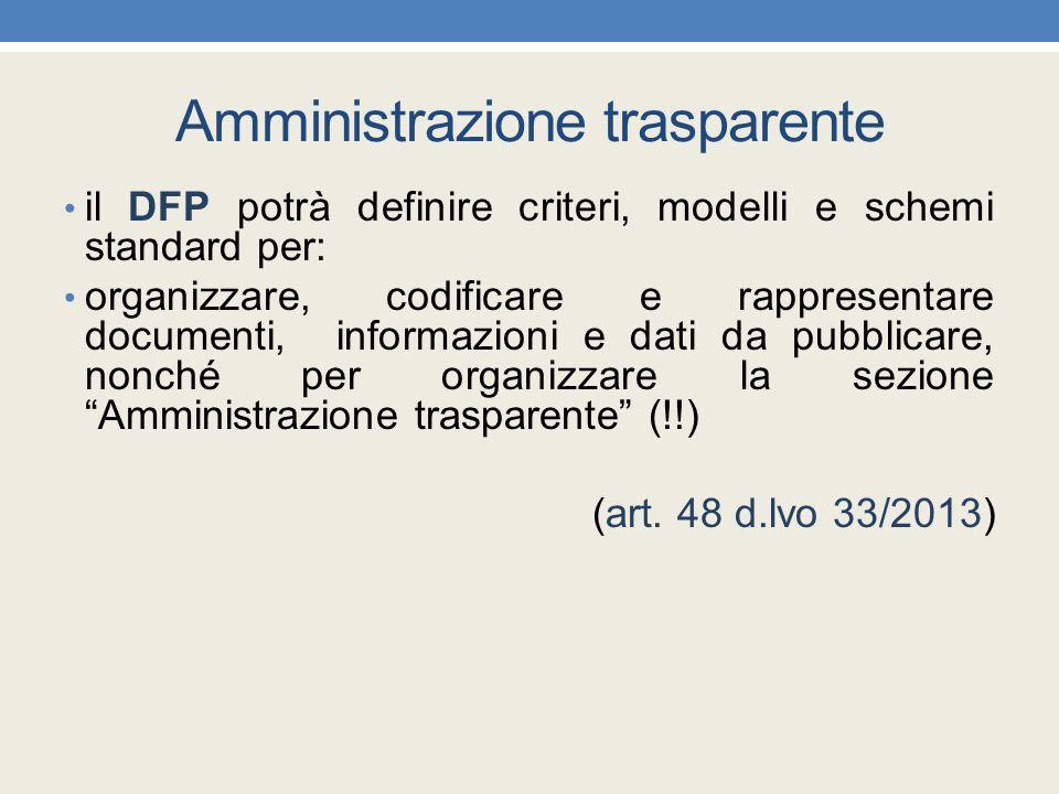 Amministrazione trasparente il DFP potrà definire criteri, modelli e schemi standard per: organizzare, codificare e rappresentare documenti, informazi