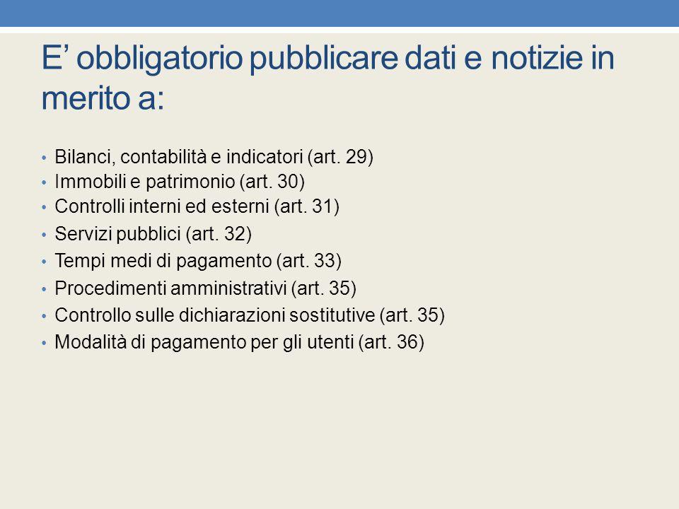 E' obbligatorio pubblicare dati e notizie in merito a: Bilanci, contabilità e indicatori (art. 29) Immobili e patrimonio (art. 30) Controlli interni e