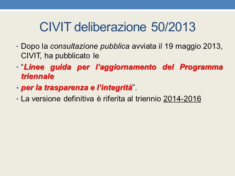 CIVIT deliberazione 50/2013 Dopo la consultazione pubblica avviata il 19 maggio 2013, CIVIT, ha pubblicato le Linee guida per l'aggiornamento del Prog