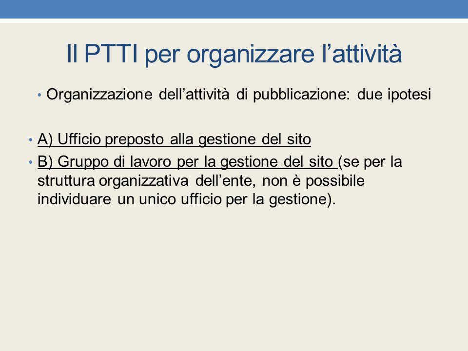 Il PTTI per organizzare l'attività Organizzazione dell'attività di pubblicazione: due ipotesi A) Ufficio preposto alla gestione del sito B) Gruppo di