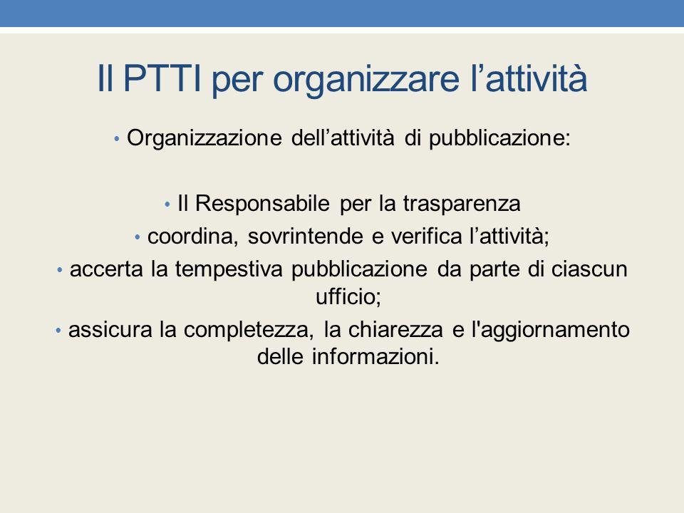 Il PTTI per organizzare l'attività Organizzazione dell'attività di pubblicazione: Il Responsabile per la trasparenza coordina, sovrintende e verifica