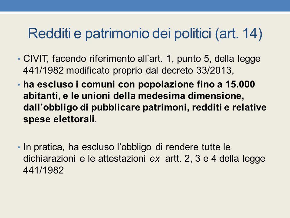 Redditi e patrimonio dei politici (art. 14) CIVIT, facendo riferimento all'art. 1, punto 5, della legge 441/1982 modificato proprio dal decreto 33/201