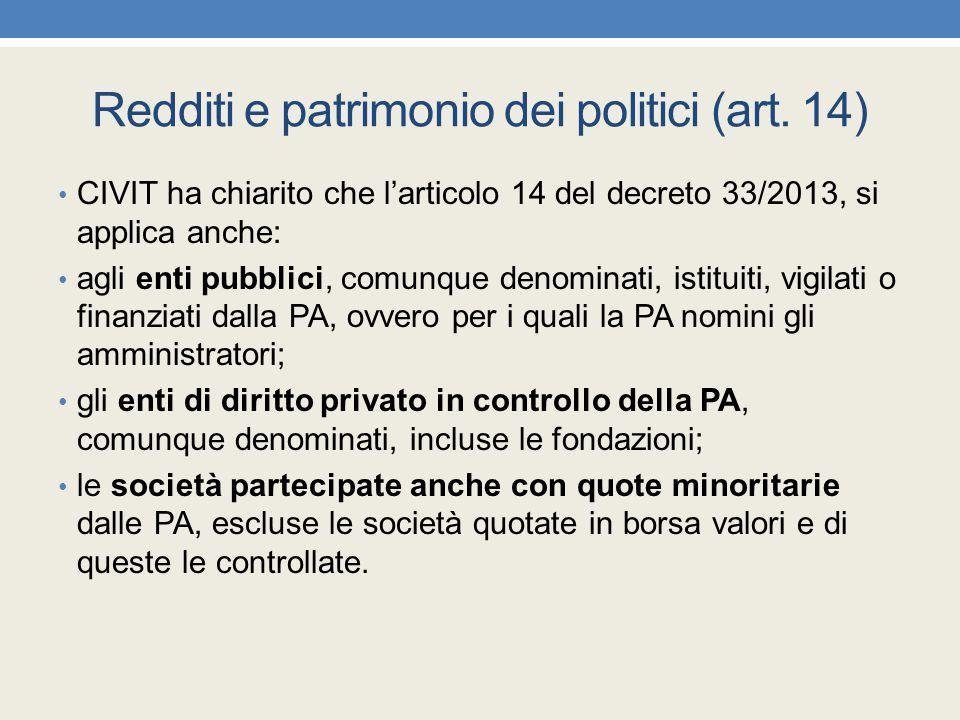 Redditi e patrimonio dei politici (art. 14) CIVIT ha chiarito che l'articolo 14 del decreto 33/2013, si applica anche: agli enti pubblici, comunque de
