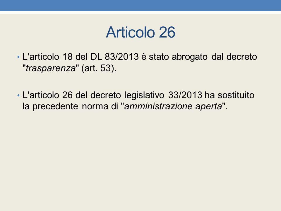 Articolo 26 L'articolo 18 del DL 83/2013 è stato abrogato dal decreto
