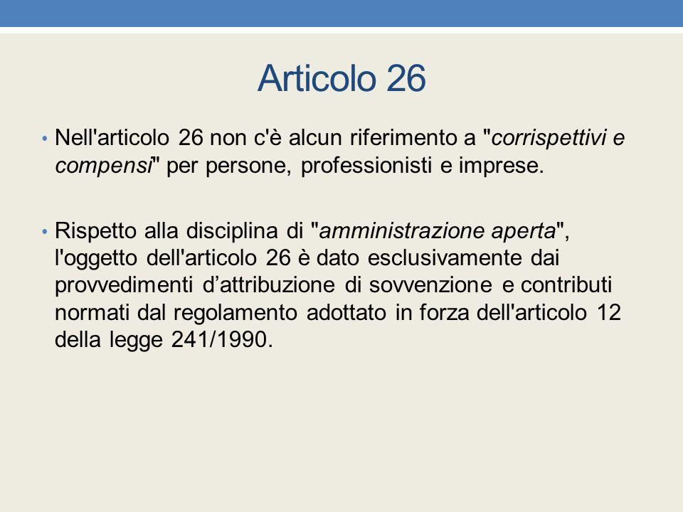 Articolo 26 Nell'articolo 26 non c'è alcun riferimento a