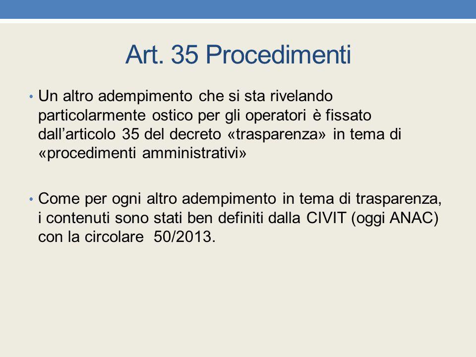 Art. 35 Procedimenti Un altro adempimento che si sta rivelando particolarmente ostico per gli operatori è fissato dall'articolo 35 del decreto «traspa