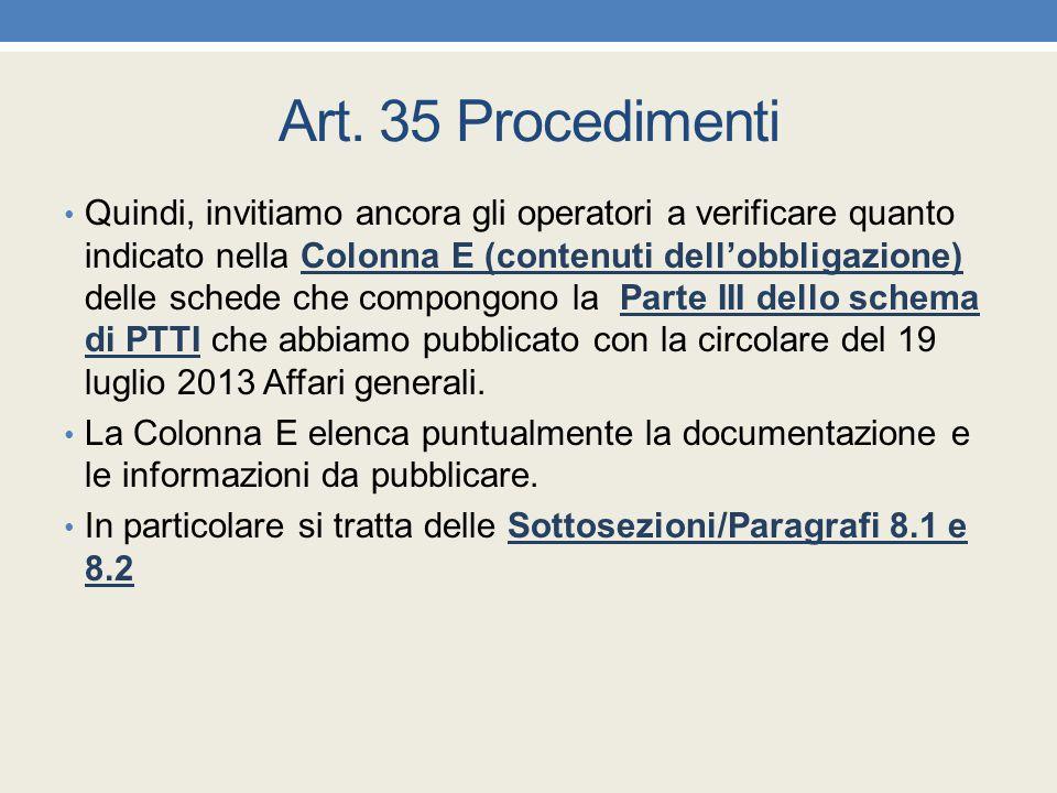 Art. 35 Procedimenti Quindi, invitiamo ancora gli operatori a verificare quanto indicato nella Colonna E (contenuti dell'obbligazione) delle schede ch