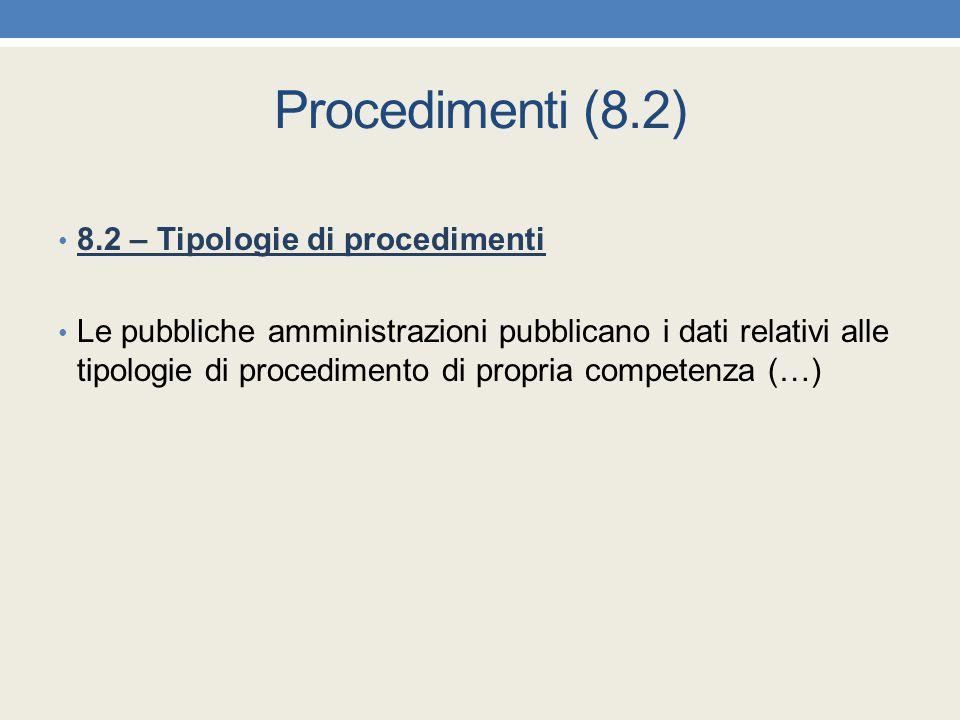Procedimenti (8.2) 8.2 – Tipologie di procedimenti Le pubbliche amministrazioni pubblicano i dati relativi alle tipologie di procedimento di propria c