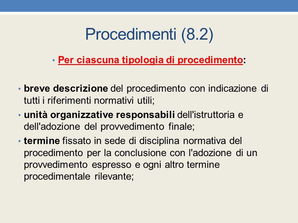 Procedimenti (8.2) Per ciascuna tipologia di procedimento: breve descrizione del procedimento con indicazione di tutti i riferimenti normativi utili;