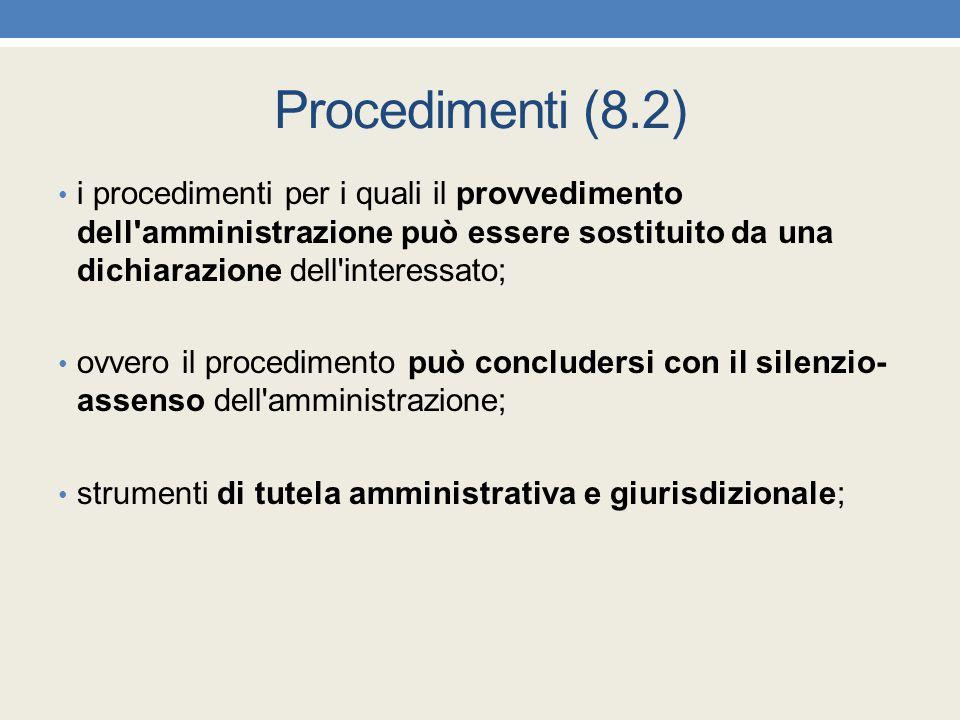 Procedimenti (8.2) i procedimenti per i quali il provvedimento dell'amministrazione può essere sostituito da una dichiarazione dell'interessato; ovver