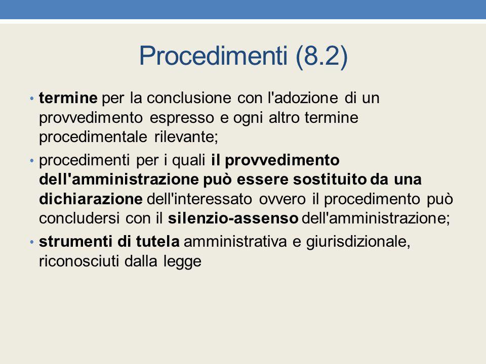 Procedimenti (8.2) termine per la conclusione con l'adozione di un provvedimento espresso e ogni altro termine procedimentale rilevante; procedimenti