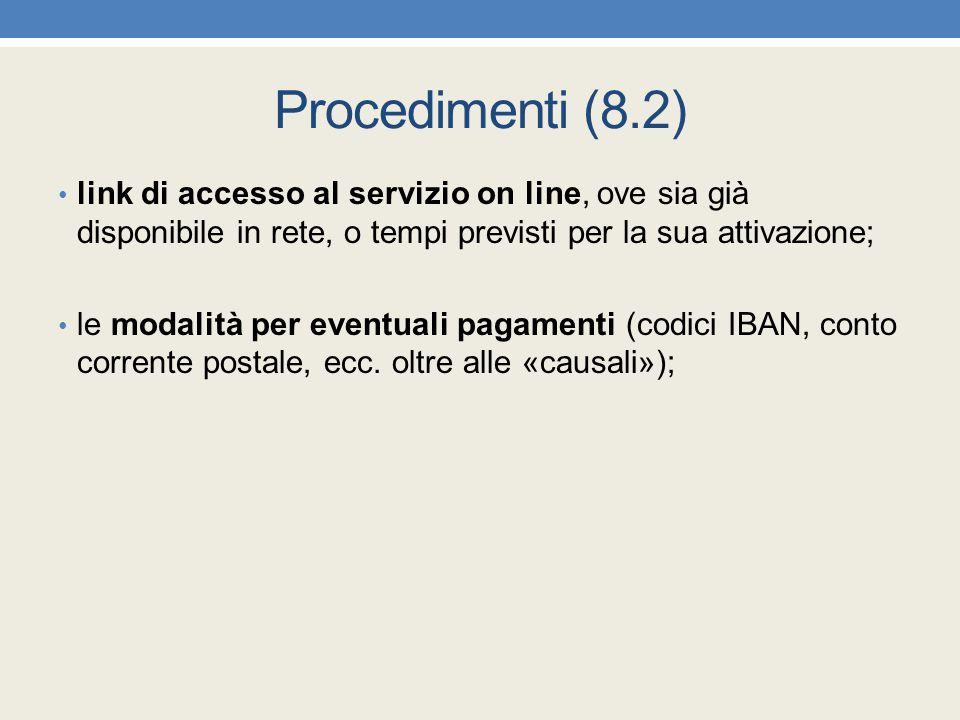 Procedimenti (8.2) link di accesso al servizio on line, ove sia già disponibile in rete, o tempi previsti per la sua attivazione; le modalità per even