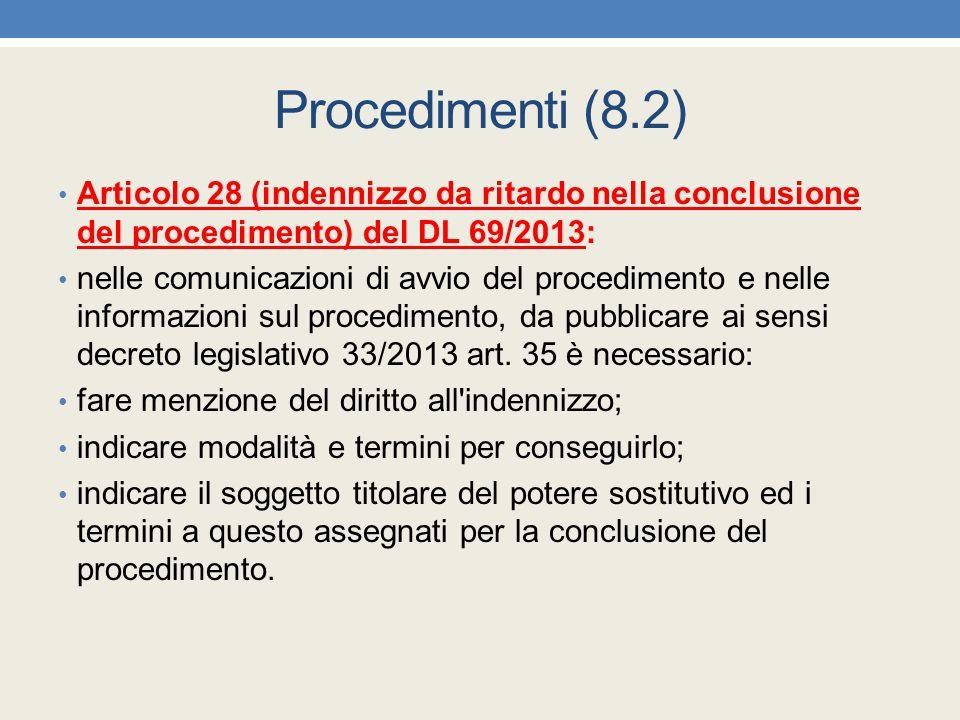 Procedimenti (8.2) Articolo 28 (indennizzo da ritardo nella conclusione del procedimento) del DL 69/2013: nelle comunicazioni di avvio del procediment