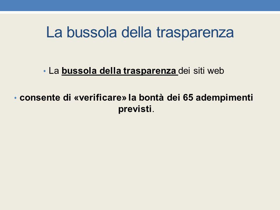 La bussola della trasparenza La bussola della trasparenza dei siti web consente di «verificare» la bontà dei 65 adempimenti previsti.