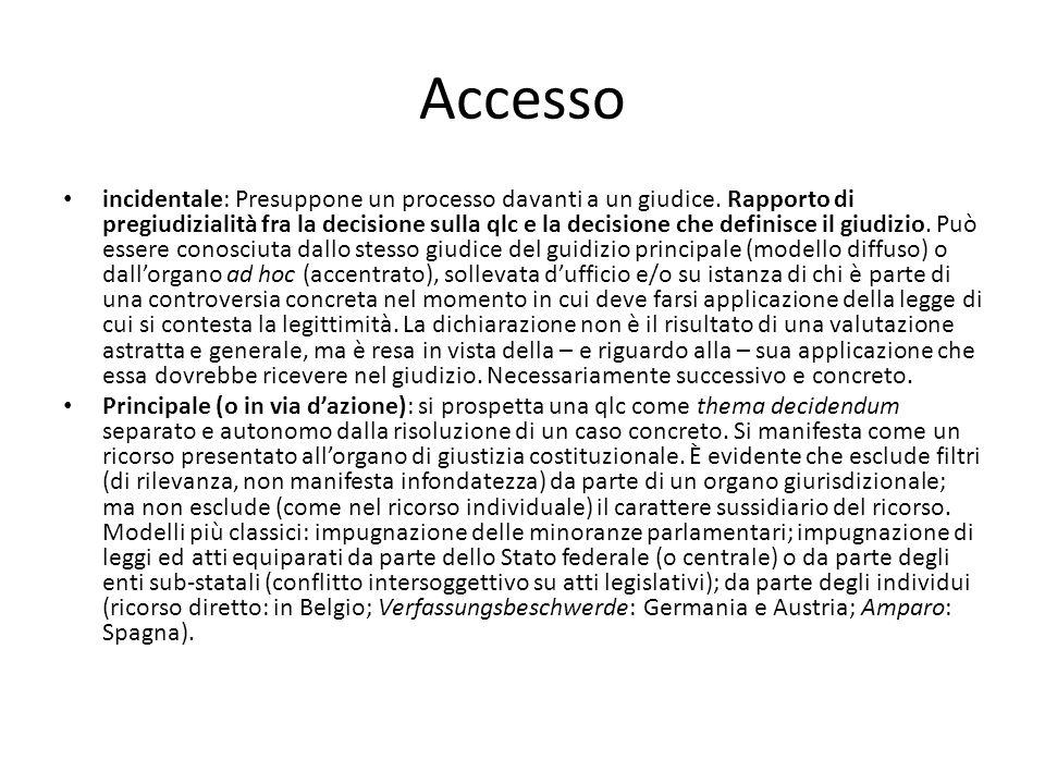 Accesso incidentale: Presuppone un processo davanti a un giudice. Rapporto di pregiudizialità fra la decisione sulla qlc e la decisione che definisce