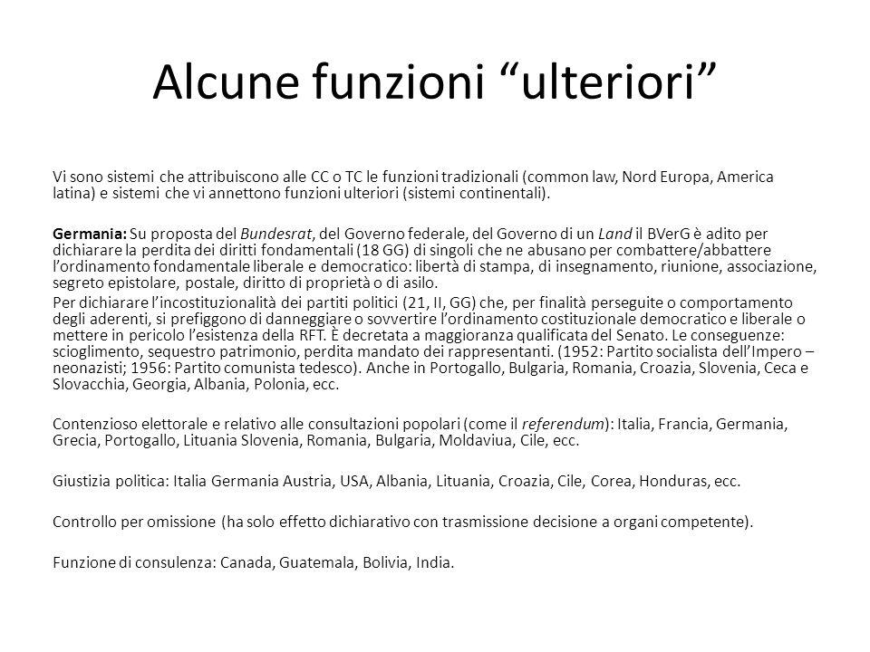"""Alcune funzioni """"ulteriori"""" Vi sono sistemi che attribuiscono alle CC o TC le funzioni tradizionali (common law, Nord Europa, America latina) e sistem"""