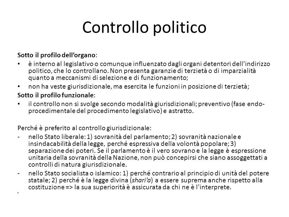 Controllo politico Sotto il profilo dell'organo: è interno al legislativo o comunque influenzato dagli organi detentori dell'indirizzo politico, che lo controllano.