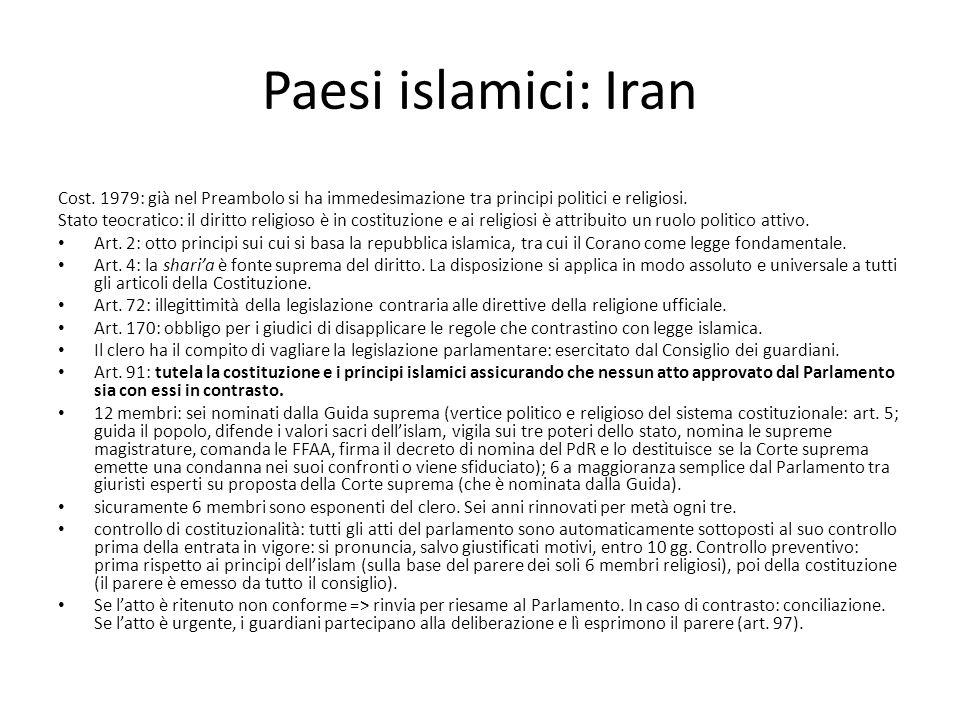 Paesi islamici: Iran Cost. 1979: già nel Preambolo si ha immedesimazione tra principi politici e religiosi. Stato teocratico: il diritto religioso è i