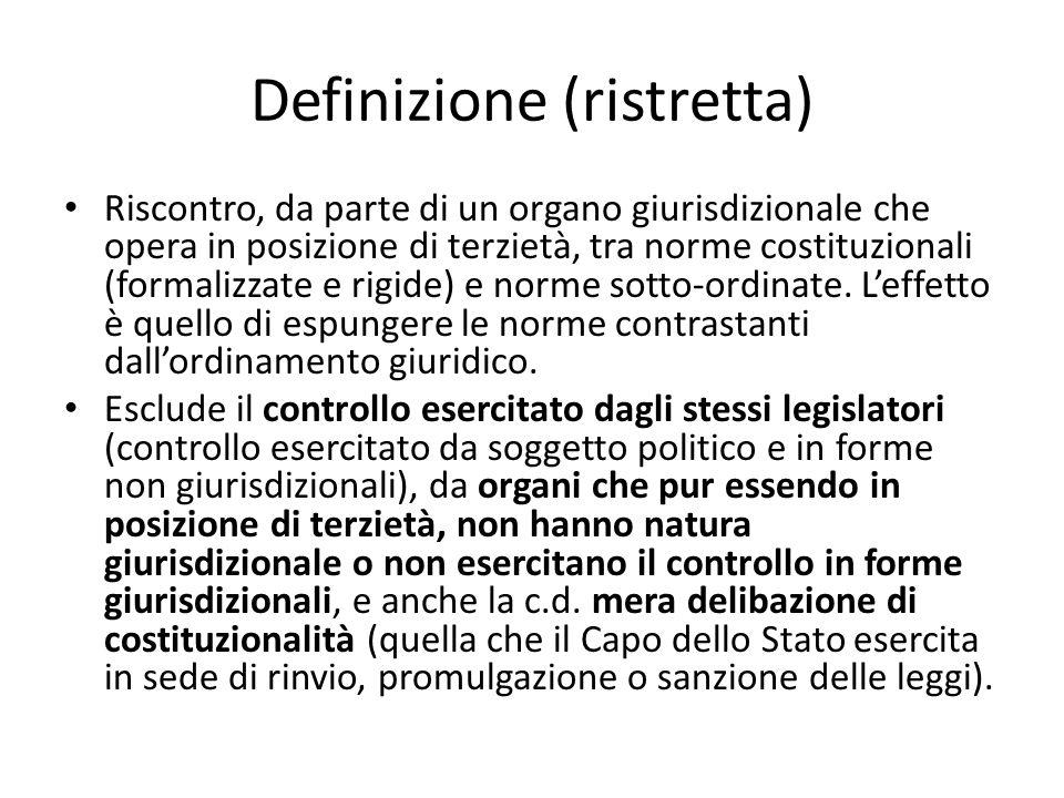 Definizione (ristretta) Riscontro, da parte di un organo giurisdizionale che opera in posizione di terzietà, tra norme costituzionali (formalizzate e rigide) e norme sotto-ordinate.