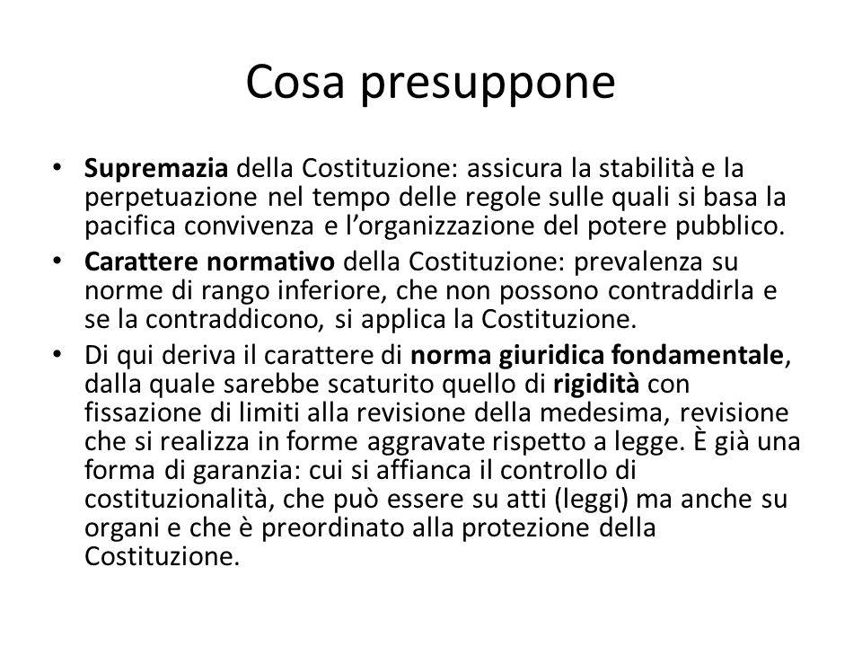 Cosa presuppone Supremazia della Costituzione: assicura la stabilità e la perpetuazione nel tempo delle regole sulle quali si basa la pacifica convivenza e l'organizzazione del potere pubblico.