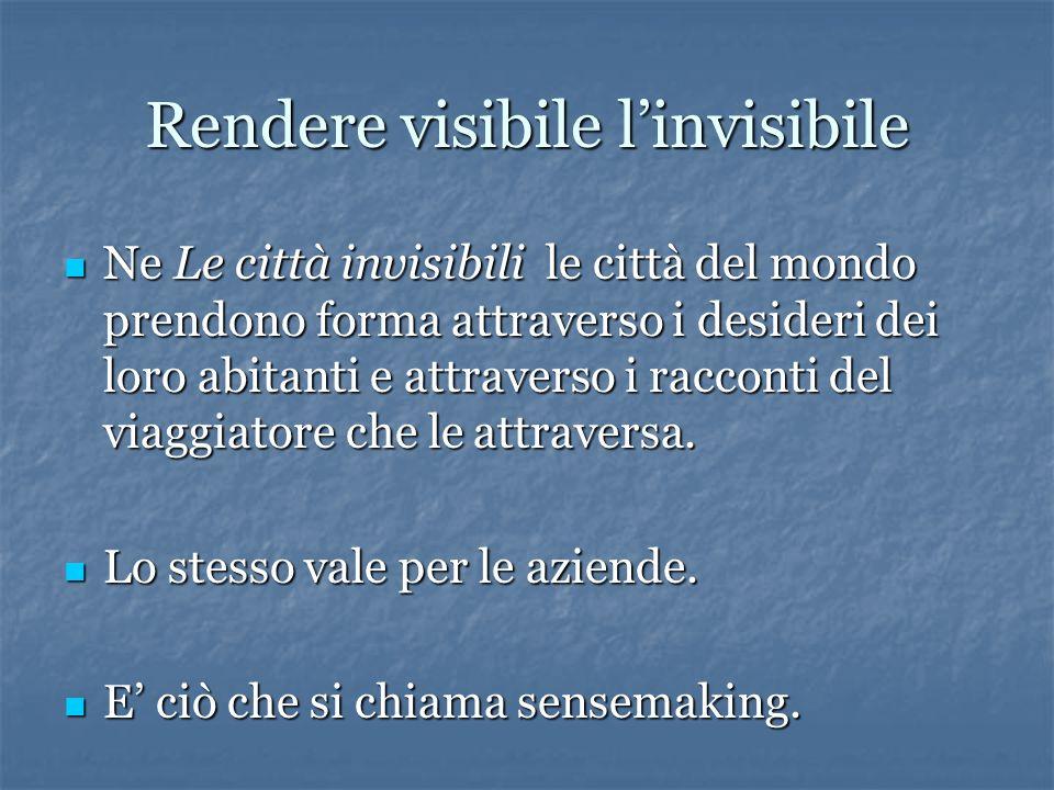 Rendere visibile l'invisibile Ne Le città invisibili le città del mondo prendono forma attraverso i desideri dei loro abitanti e attraverso i racconti del viaggiatore che le attraversa.