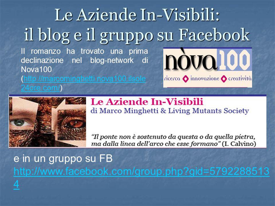 Le Aziende In-Visibili: il blog e il gruppo su Facebook Il romanzo ha trovato una prima declinazione nel blog-network di Nova100 (http://marcominghetti.nova100.ilsole 24ore.com/)http://marcominghetti.nova100.ilsole 24ore.com/ e in un gruppo su FB http://www.facebook.com/group.php gid=5792288513 4 http://www.facebook.com/group.php gid=5792288513 4