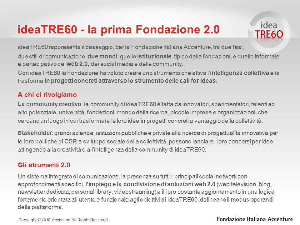 ideaTRE60 rappresenta il passaggio, per la Fondazione Italiana Accenture, tra due fasi, due stili di comunicazione, due mondi: quello istituzionale, tipico delle fondazioni, e quello informale e partecipativo del web 2.0, dei social media e delle community.