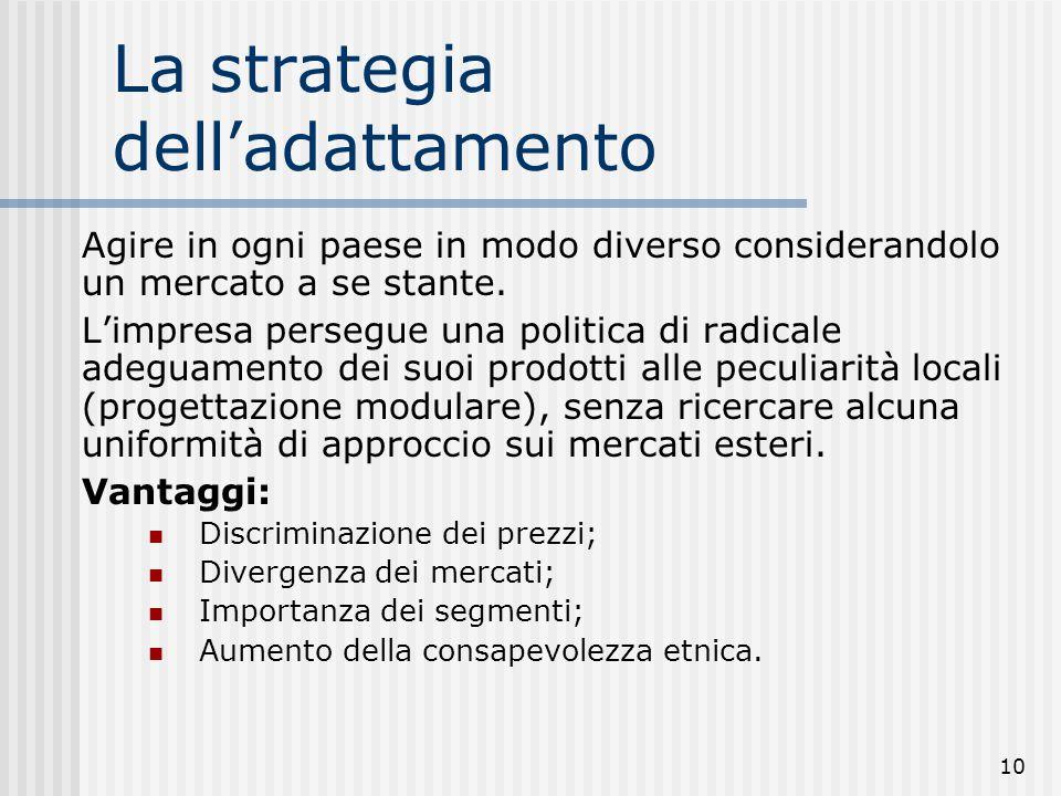 10 La strategia dell'adattamento Agire in ogni paese in modo diverso considerandolo un mercato a se stante. L'impresa persegue una politica di radical