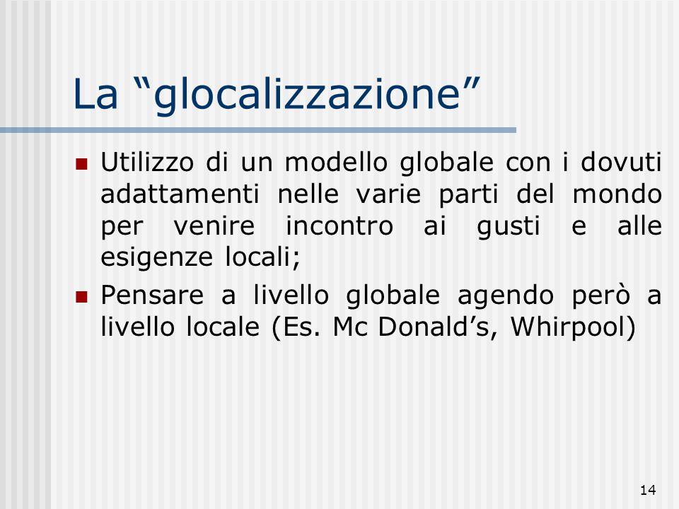 """14 La """"glocalizzazione"""" Utilizzo di un modello globale con i dovuti adattamenti nelle varie parti del mondo per venire incontro ai gusti e alle esigen"""