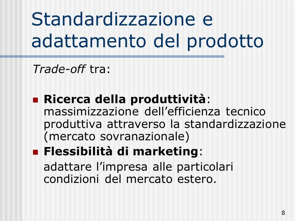 8 Standardizzazione e adattamento del prodotto Trade-off tra: Ricerca della produttività: massimizzazione dell'efficienza tecnico produttiva attravers