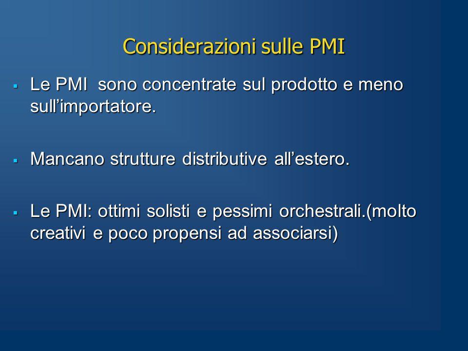 Considerazioni sulle PMI  Le PMI sono concentrate sul prodotto e meno sull'importatore.
