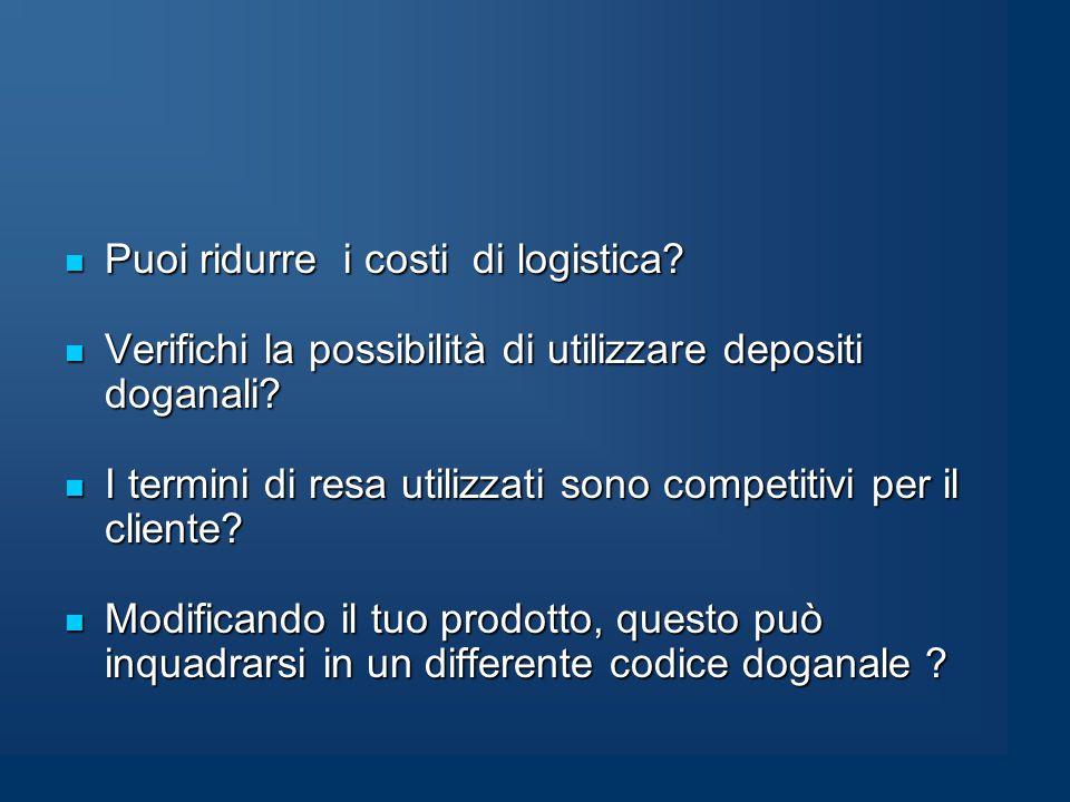 Puoi ridurre i costi di logistica. Puoi ridurre i costi di logistica.