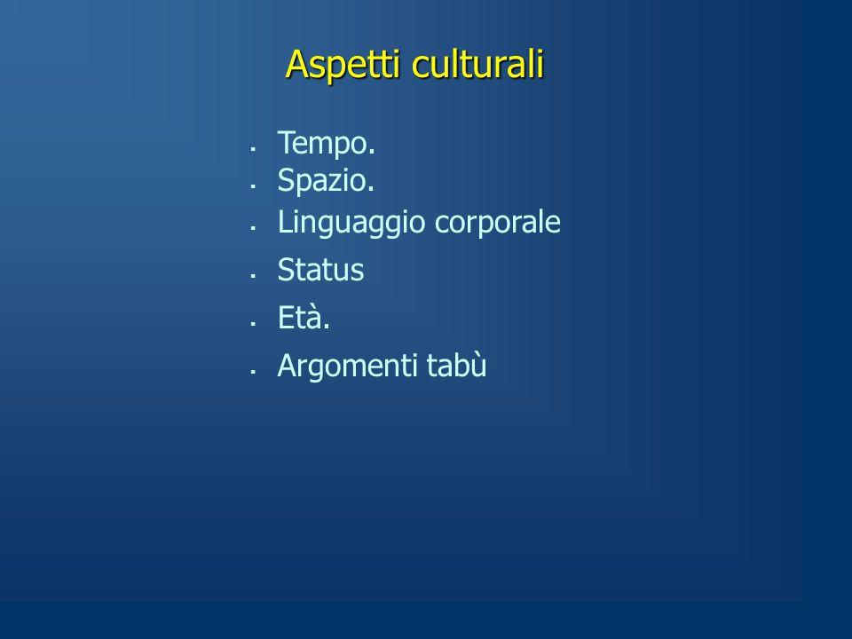 Aspetti culturali  Tempo.  Spazio.  Linguaggio corporale  Status  Età.  Argomenti tabù