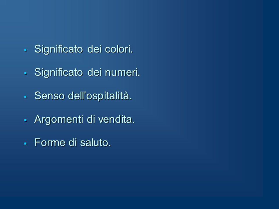  Significato dei colori.  Significato dei numeri.