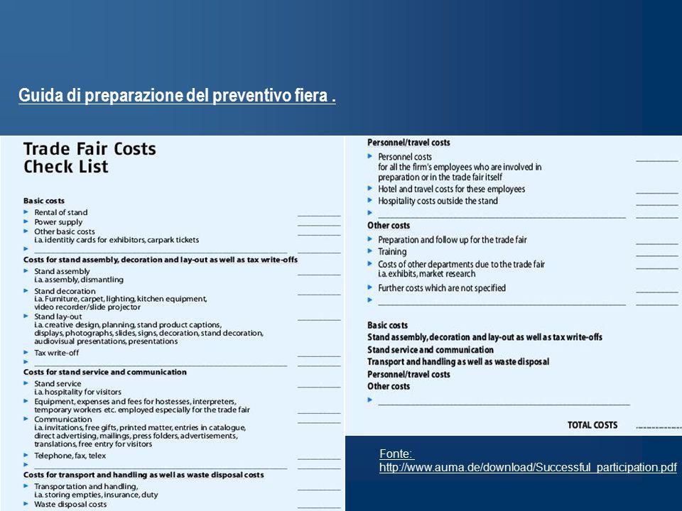 Guida di preparazione del preventivo fiera.
