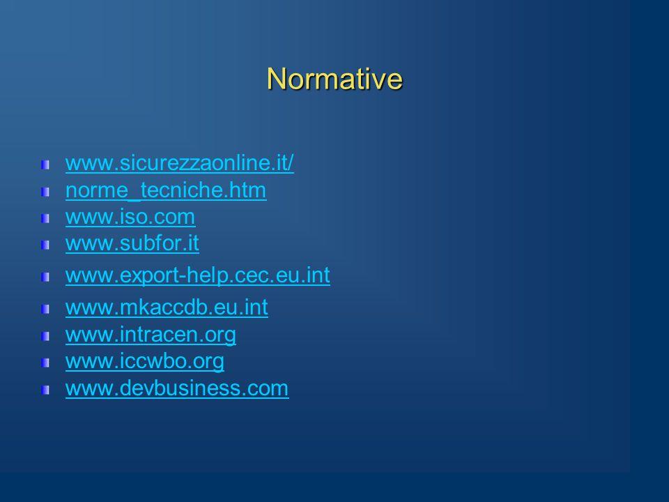 Normative www.sicurezzaonline.it/ norme_tecniche.htm www.iso.com www.subfor.it www.export-help.cec.eu.int www.mkaccdb.eu.int www.intracen.org www.iccwbo.org www.devbusiness.com
