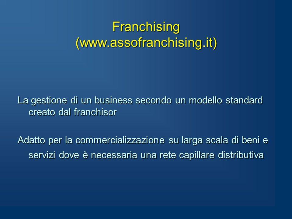 Franchising (www.assofranchising.it) La gestione di un business secondo un modello standard creato dal franchisor Adatto per la commercializzazione su larga scala di beni e servizi dove è necessaria una rete capillare distributiva