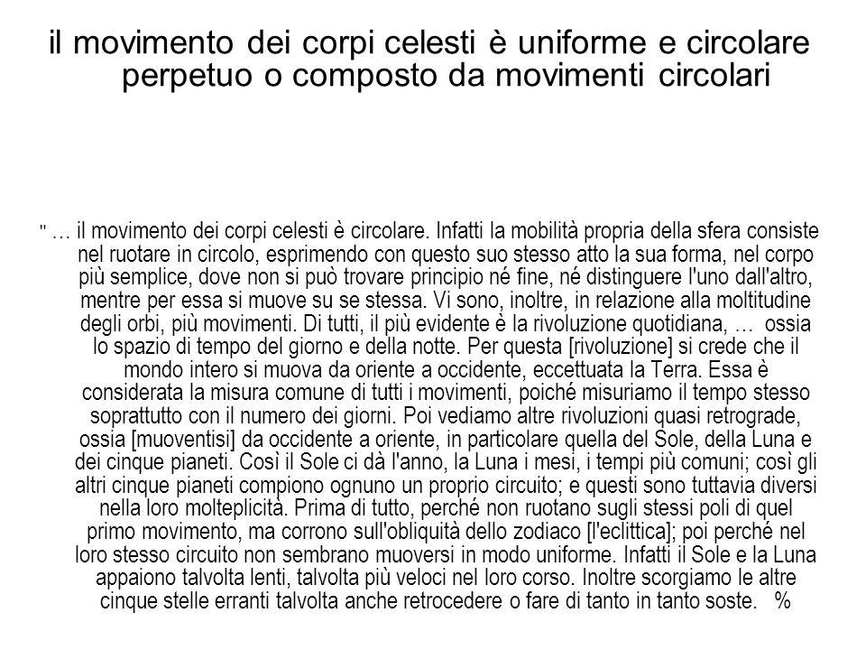 il movimento dei corpi celesti è uniforme e circolare perpetuo o composto da movimenti circolari