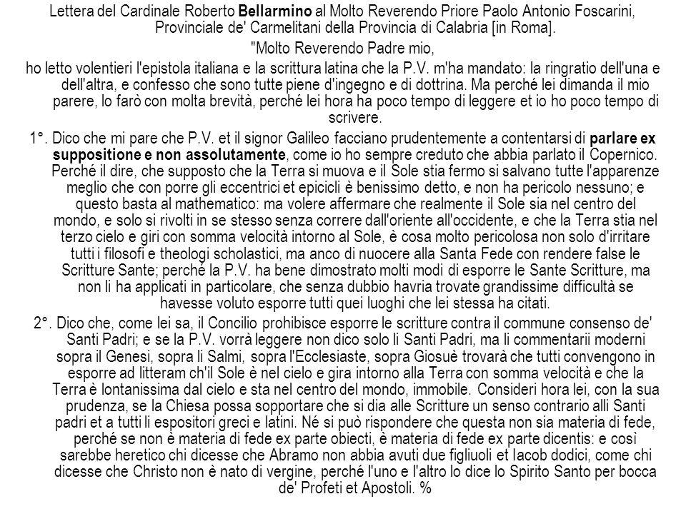 Lettera del Cardinale Roberto Bellarmino al Molto Reverendo Priore Paolo Antonio Foscarini, Provinciale de' Carmelitani della Provincia di Calabria [i