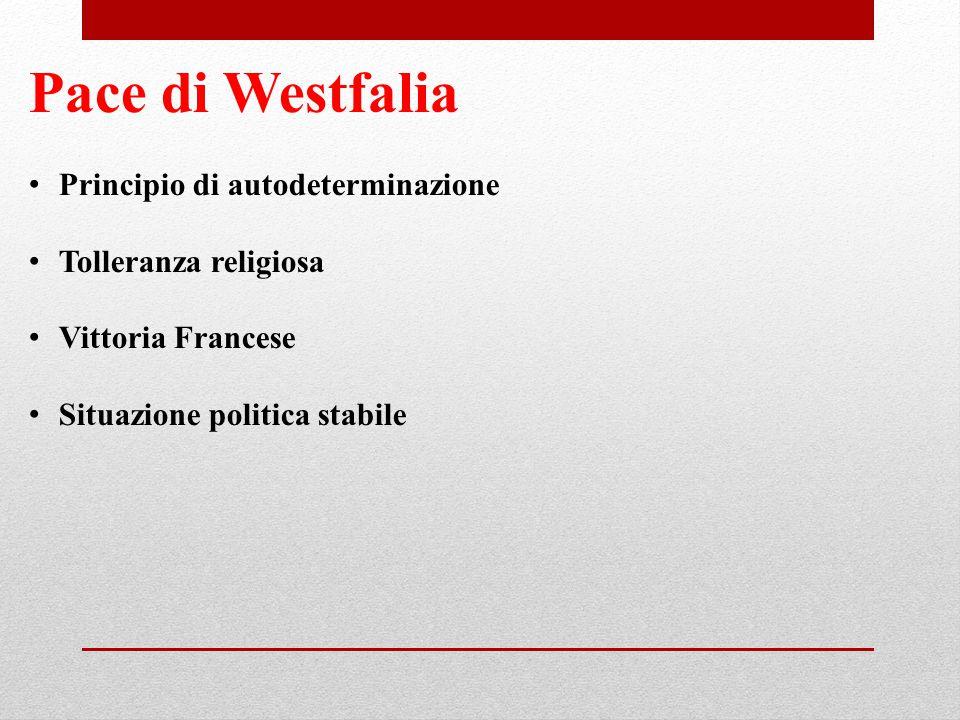 Pace di Westfalia Principio di autodeterminazione Tolleranza religiosa Vittoria Francese Situazione politica stabile