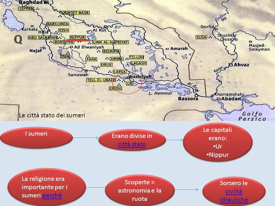 Le città stato dei sumeri I sumeri Erano divise in città stato città stato Erano divise in città stato città stato Le capitali erano: Ur Nippur Le cap