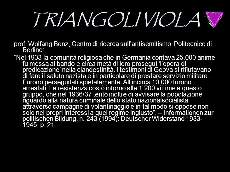 """TRIANGOLI VIOLA prof. Wolfang Benz, Centro di ricerca sull'antisemitismo, Politecnico di Berlino: """"Nel 1933 la comunità religiosa che in Germania cont"""