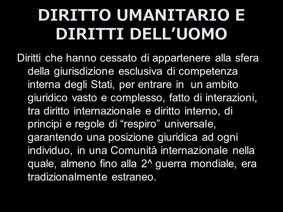 DIRITTO UMANITARIO E DIRITTI DELL'UOMO Diritti che hanno cessato di appartenere alla sfera della giurisdizione esclusiva di competenza interna degli S