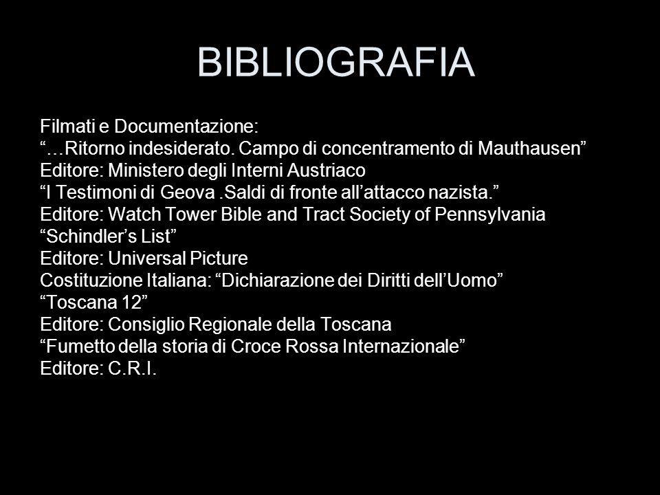 """BIBLIOGRAFIA Filmati e Documentazione: """"…Ritorno indesiderato. Campo di concentramento di Mauthausen"""" Editore: Ministero degli Interni Austriaco """"I Te"""
