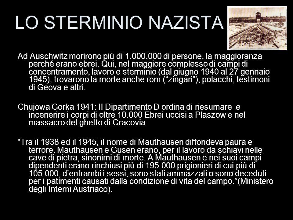 Ad Auschwitz morirono più di 1.000.000 di persone, la maggioranza perché erano ebrei. Qui, nel maggiore complesso di campi di concentramento, lavoro e