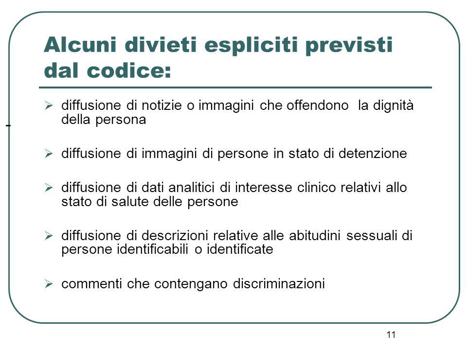 11 - Alcuni divieti espliciti previsti dal codice:  diffusione di notizie o immagini che offendono la dignità della persona  diffusione di immagini
